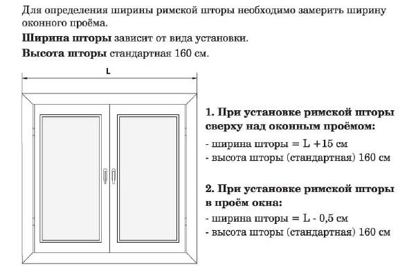 Размер римской шторы